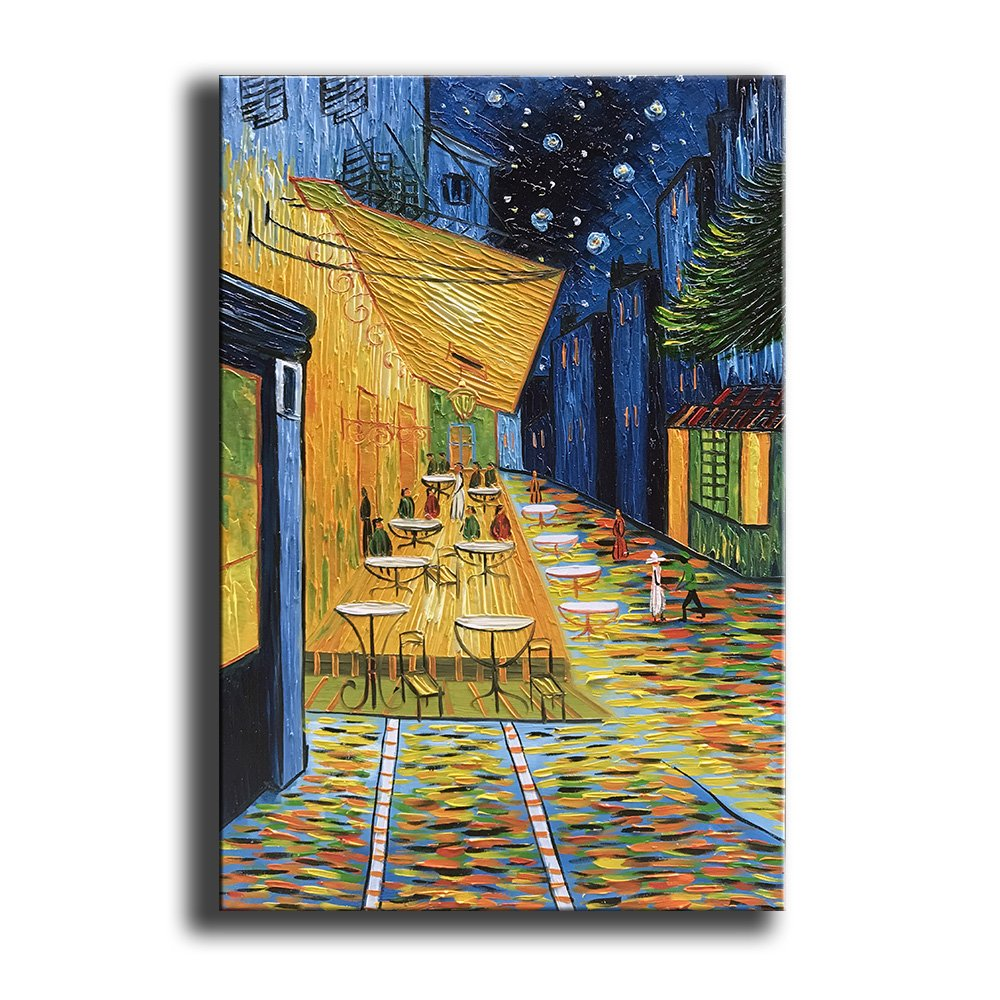 YaSheng Art - Cafe Terrace at Night by Van Gogh Famous Oil Paintings Reproduction Artwork Modern hand-painted Landscape Art Painting Home Office Decor Canvas Wall Art Paintings Ready to Hang 24x36inch