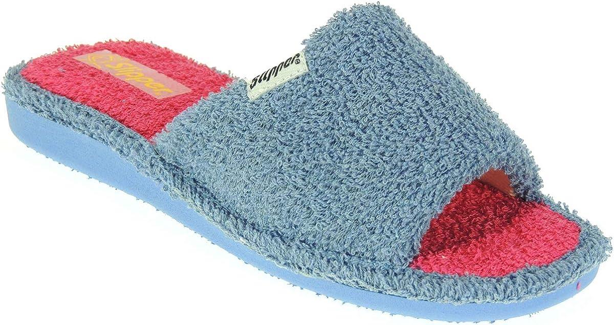 Slipper 310 Zapatilla Destalonada Chinela Descalza Toalla Llana de Casa para Mujer