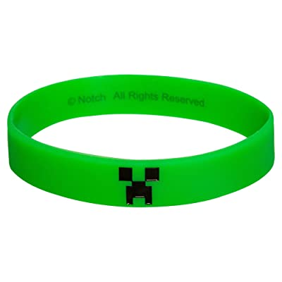 JINX Minecraft Creeper Face Rubber Bracelet (Green, Large): Toys & Games