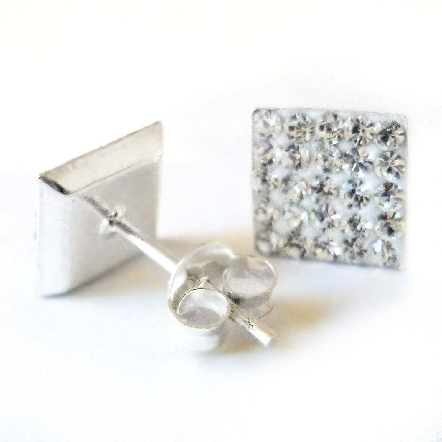earrings diamond gold womens square white petite image stud