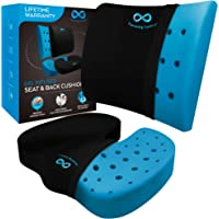 Memory Foam Seat Cushion/Back Cushion Combo, Gel Infused & Ventilated, Orthopedic Design. Perfect for Office Chair, Relieves Back, Coccyx, Sciatica, Tailbone, Lumbar Pain, by Everlasting Comfort
