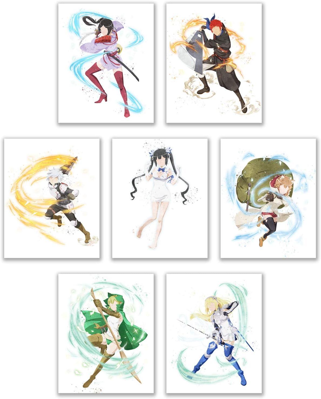 Watercolor DanMachi Prints - Set of 7 (8x10 Inches) Glossy Anime Shonen Manga Wall Art Decor - Hestia - Bell Cranel - Ais Wallenstein - Lilililuka Arde - Welf Crozzo - Mikoto Yamato - Ryuu Lion