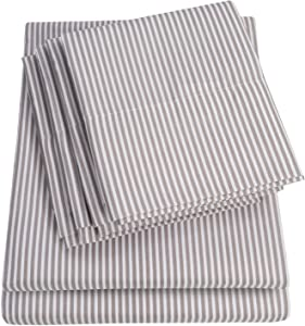 Full Size Bed Sheets - 6 Piece 1500 Thread Count Fine Brushed Microfiber Deep Pocket Full Sheet Set Bedding - 2 Extra Pillow Cases, Great Value, Full, Classic Stripe Gray