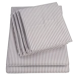 Sweet Home Collection Sheets 6 Piece 1500 Thread Count Deep Pocket Hypoallergenic Brushed Microfiber Soft and Comfortable Bedding Set, Queen, Classic Stripe Gray,