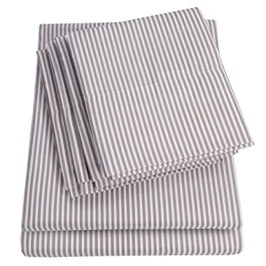 Queen Sheets Stripe Grey - 6 Piece 1500 Thread Count Fine Brushed Microfiber Deep Pocket Queen Sheet Set Bedding - 2 Extra Pillow Cases, Great Value, Queen, Classic Stripe Gray