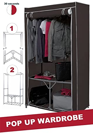 direct online houseware extra strong metal frame canvas wardrobe
