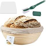 9 Inch Proofing Basket,WERTIOO Bread Proofing Basket + Bread Lame +Dough Scraper+ Linen Liner Cloth for Professional…