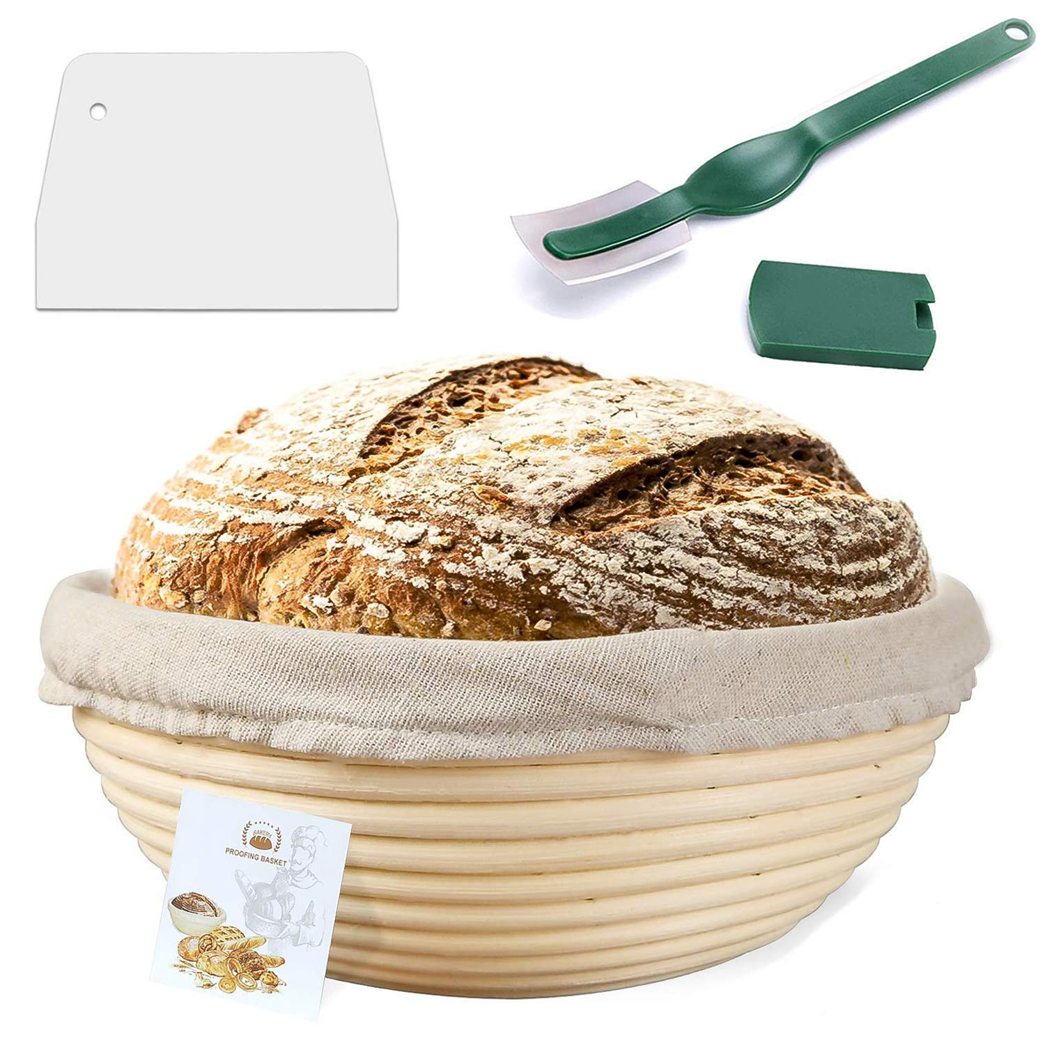 9 Inch Proofing Basket,WERTIOO Bread Proofing Basket + Bread Lame +Dough Scraper+ Linen Liner Cloth for Professional & Home Bakers by WERTIOO