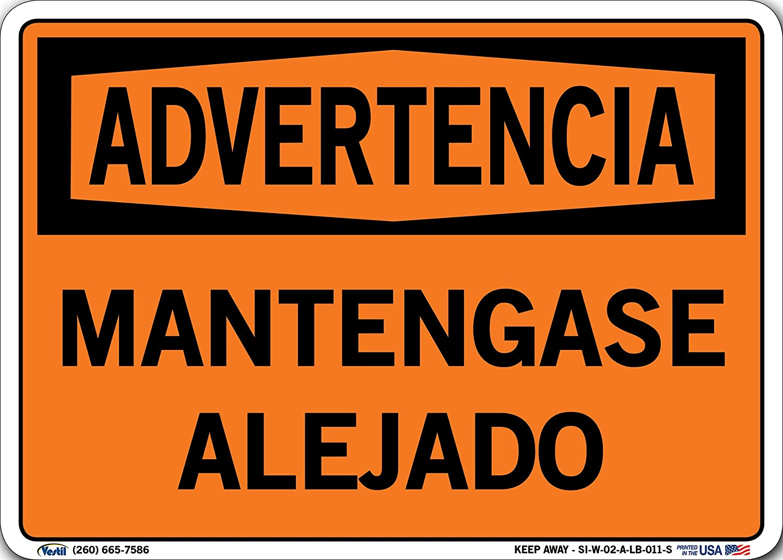 0.011 Overall Size Vinyl Vestil SI-W-02-D-LB-011-S KEEP AWAY//MANTENGASE ALEJADO Warning Label 18.5 W x 12.5 H