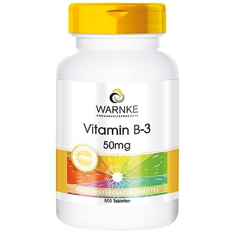 Vitamina B3 de Warnke productos para salud – 50mg – 500 comprimidos – con niacina –