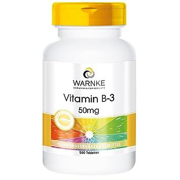 Vitamina B3 de Warnke productos para salud - 50mg - 500 comprimidos - con niacina - sustancia pura en paquete grande: Amazon.es: Salud y cuidado personal
