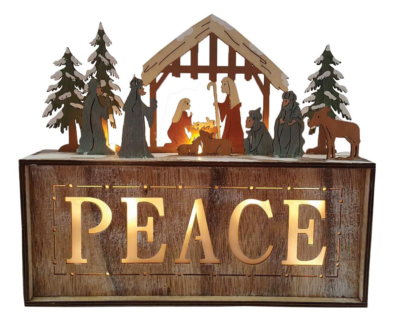 Santas Workshop Peace Bo Light Box 10 Tall Brown//Green Santa/'s Workshop 70861