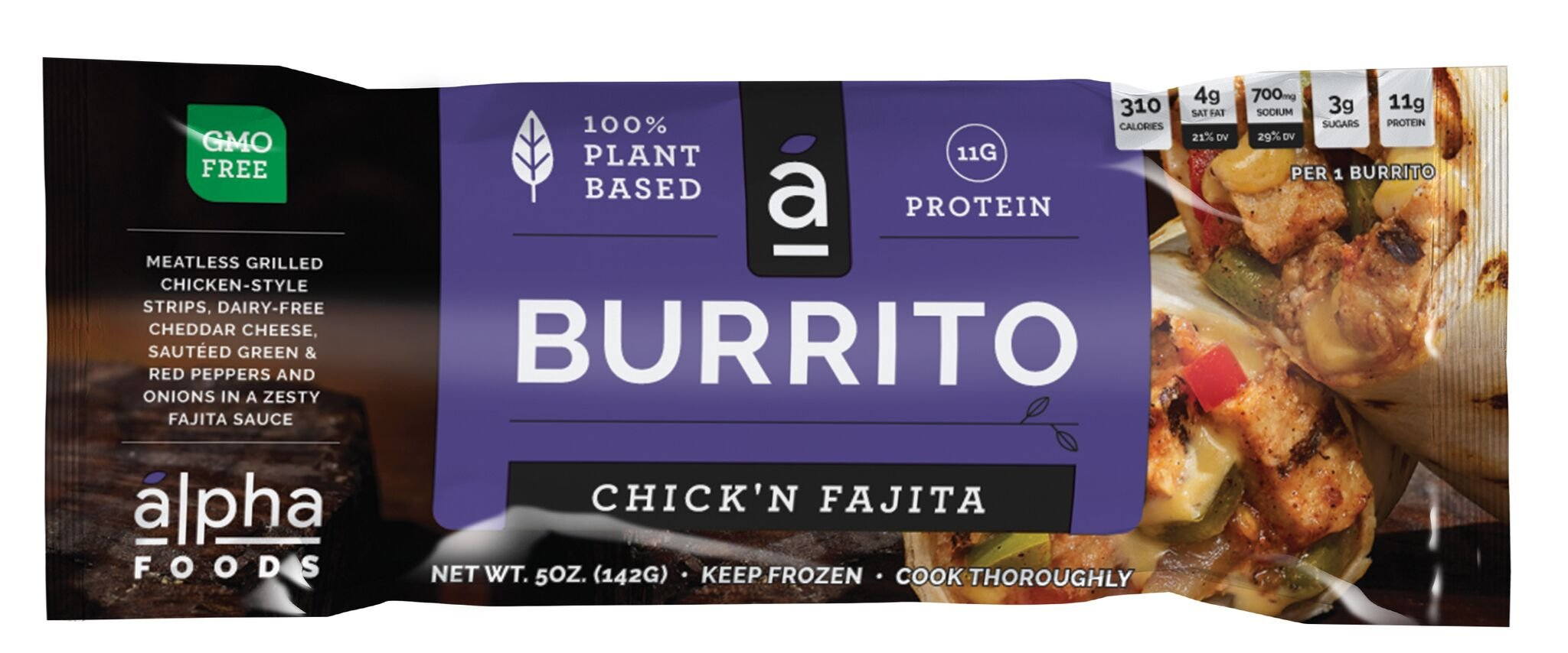 Alpha Foods Plant Based Burrito, Chick'N Fajita, 5 Ounce (Pack of 12)