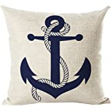 Selcet Blue Boat Anchor Pattern Cotton Linen Decorative Throw Pillow Case Cushion Cover for Couch Home Car Square 18 x 18Inch