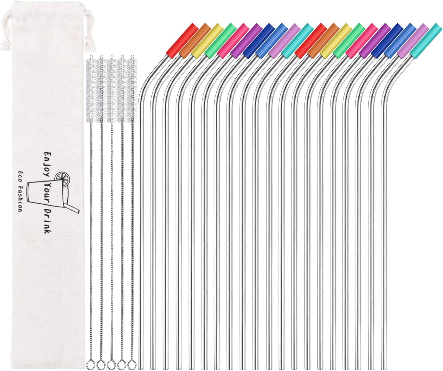 Witspace Long Bendy Mental Ecofriendly Straws Colored Stainless Steel Drinking Straws For 20 Oz//30 Oz Cups A