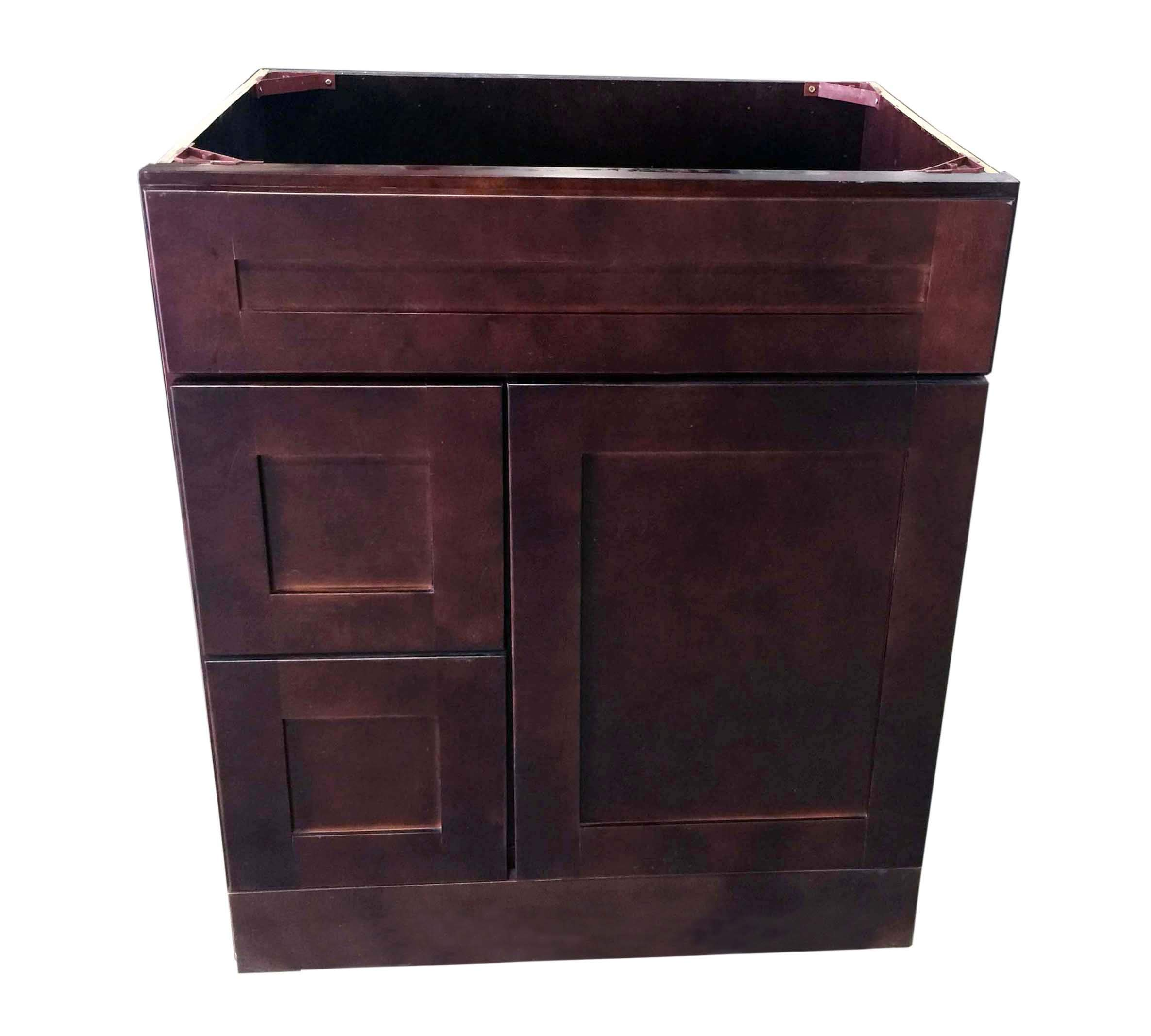 "New Espreso shaker Single-sink Bathroom Vanity Base Cabinet 30"" Wide x 21"" Deep ES-V3021DL/R - 30"" W x 34.5"" H x 21"" D assembly needed, Handles are not including !!! Solid wood with hardwood plywood construction,Made of wood - bathroom-vanities, bathroom-fixtures-hardware, bathroom - 71xZm9IlGIL -"