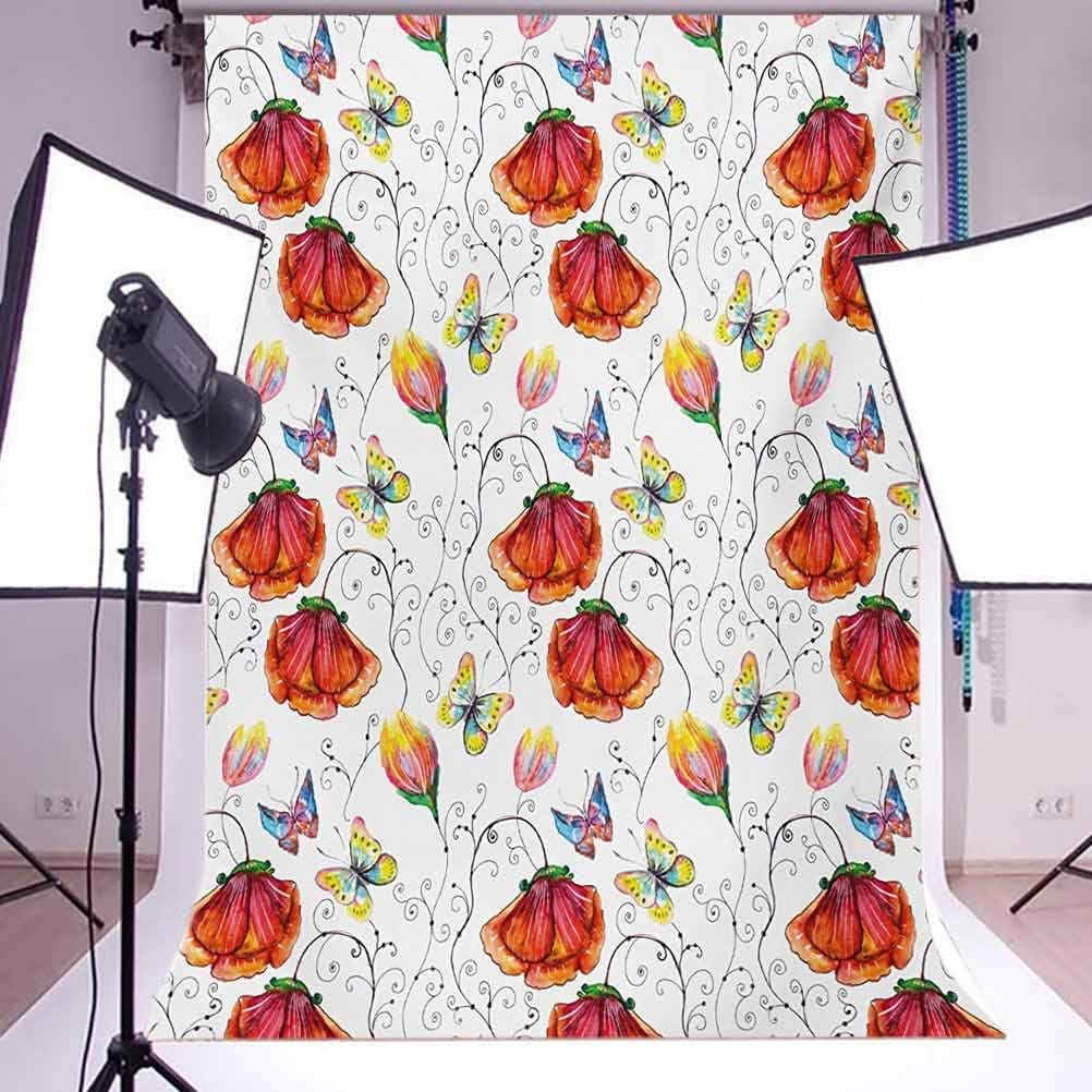 Doodle Drawing Style Natural Scene with Butterflies Flowers Swirl Stripes Background for Kid Baby Boy Girl Artistic Portrait Photo Shoot Studio Props Video Drape 6.5x10 FT Photography Backdrop