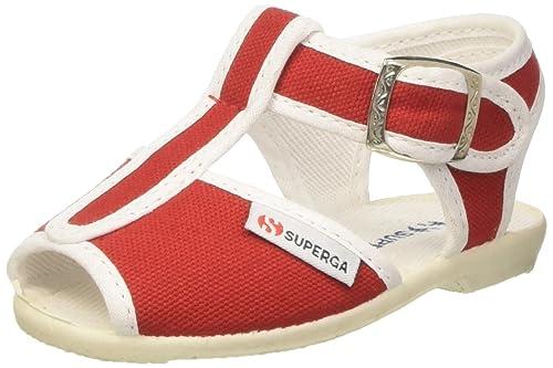 Tg. 20 EU Superga 1200Cotj Sandali con Cinturino a T Unisex Bambini Rosso