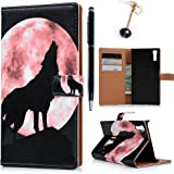 Sony Xperia XZケース 手帳型 ウォレット 携帯保護カバー PUレザー カード収納 横置きスタンド機能 狼柄
