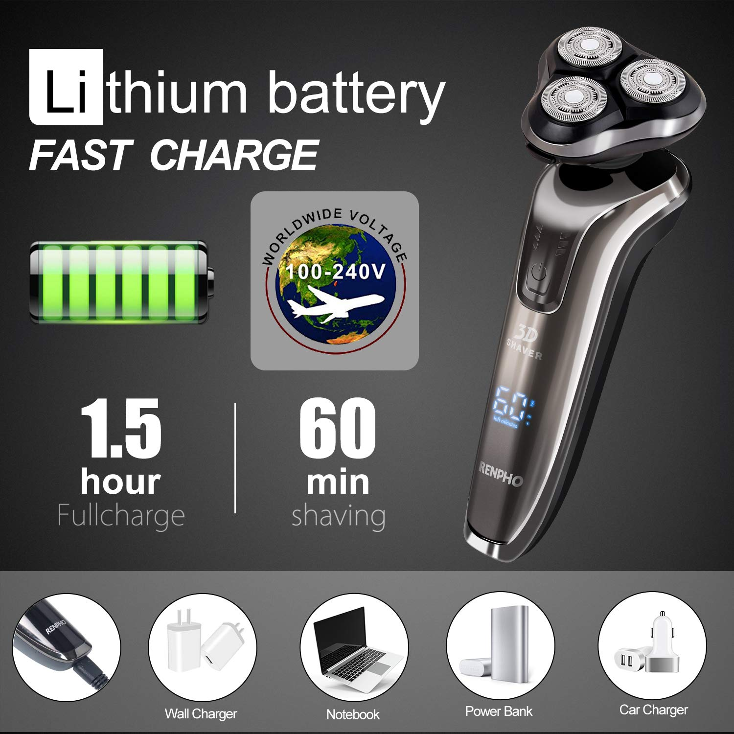RENPHO Electric Rotary Razor Shaver for Men Wet & Dry Cordless Men's Rotary Shavers with Beard Trimmer Facial, LED Charge Indicator & Travel Lock USB Rechargeable