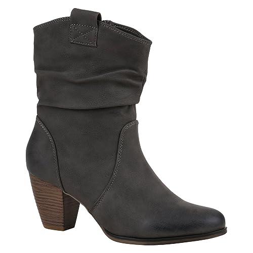 Botines para mujer de Stiefelparadies, botas de vaquera, botas con imitación de piel,