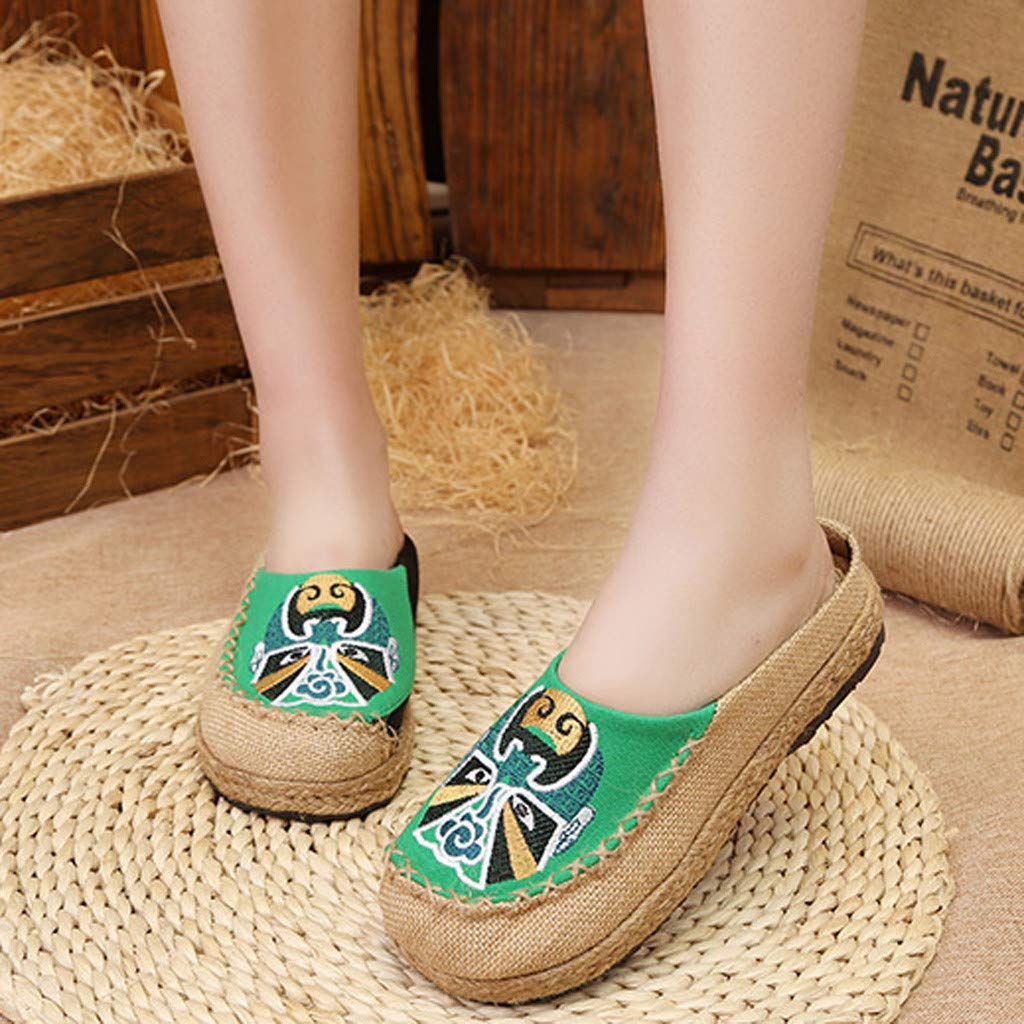 Colmkley Ladies New Fashion Casual Ethnic Shoes Linen Baotou Fisherman Slippers