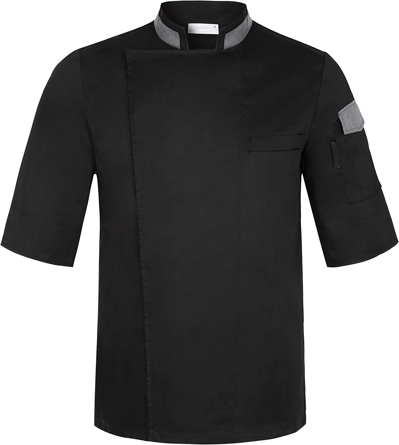 Chef Coat with Concealed Button Closure Short Sleeve Chef Jackets Work Uniform