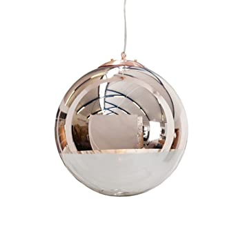 Edle Design Hangelampe Globe 40cm Glas Kupfer Kugelleuchte
