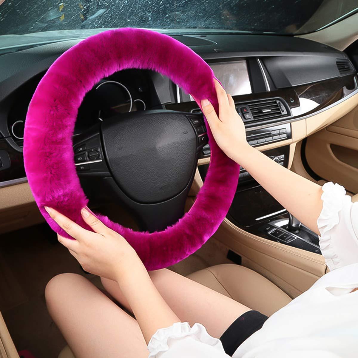 Ergocar Coprivolante per Auto Morbido In Pura Lana Universale Antiscivolo Elastico Invernale Caldo Copertura del Volante per Auto Rosa Fluorescente