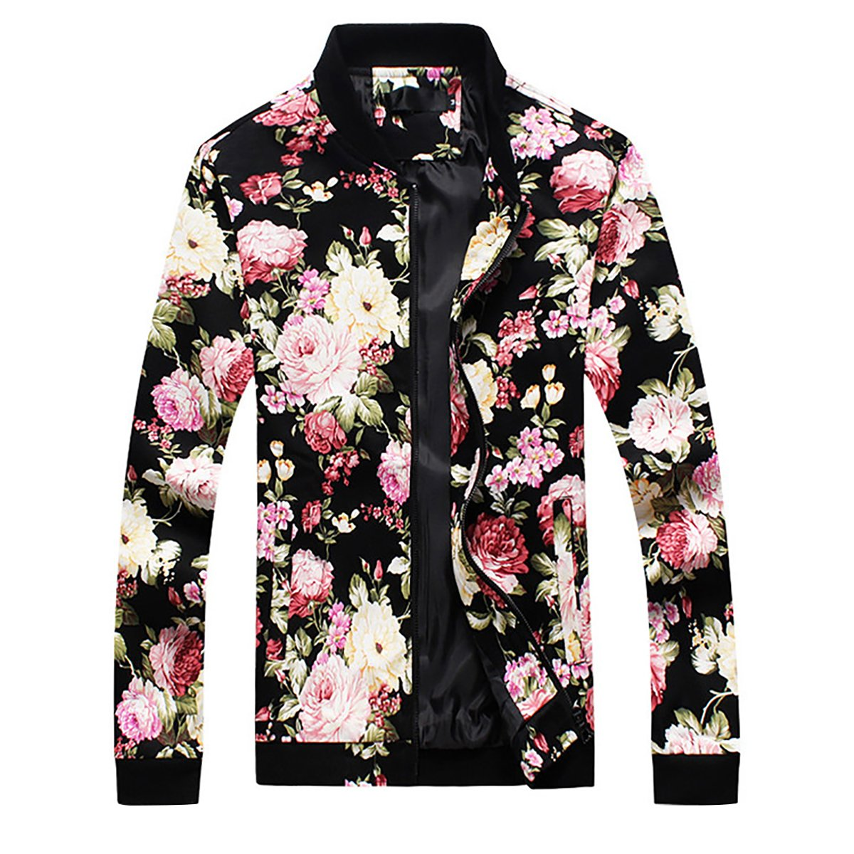 Mens Slim Fit Jacket Lightweight Sportswear Casual Long Sleeve Bomber Jacket,Picture Color,Large