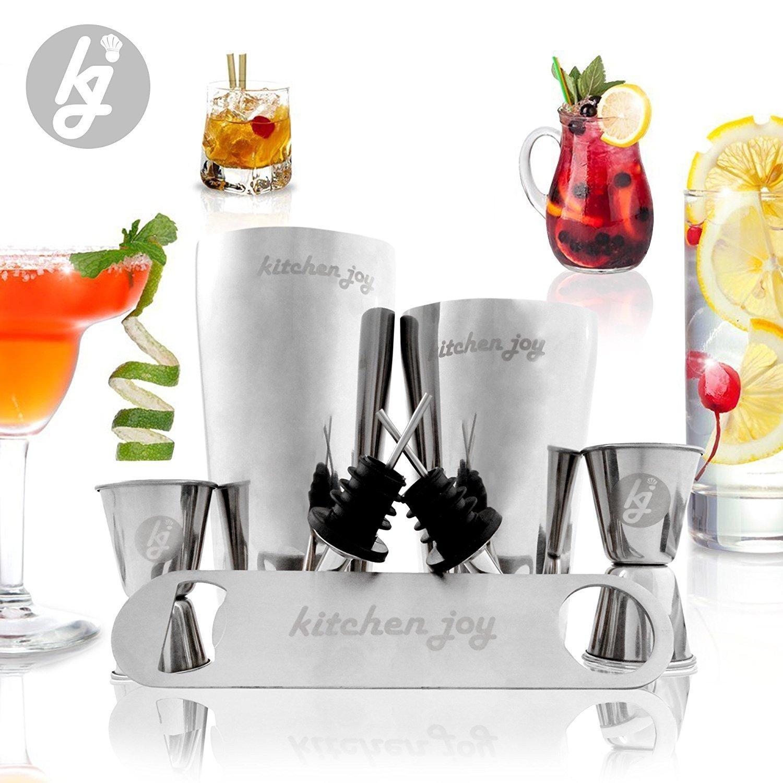Amazon.com: Set de Mezcla de Cocteles, Kit Profesional de Barra de Acero Inoxidable con 25 Onzas de Lata de Mezclador de Bebidas (12 Piezas): Kitchen & ...