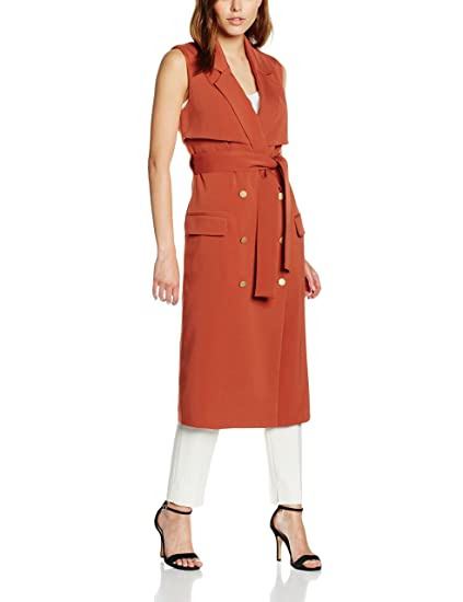 Lavish Alice Women's Terracotta Sleeveless Trench Coat Jacket