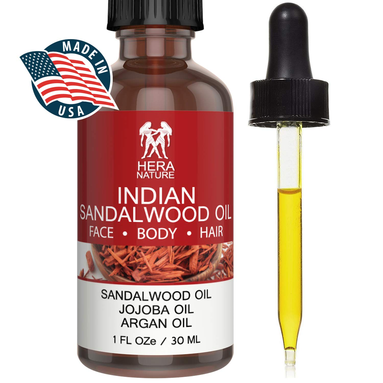 Indian Sandalwood Essential Oil in Jojoba & Argan Oil, Pure and Natural Ingredients, Powerful Anti-Aging, moisturize and Hydrate Skin,Hair & Beard. (USA) Therapeutic Grade, 30ml (1oz)