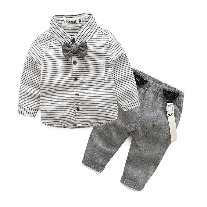 0e82fb4c4f21 Amazon.com  Kimocat 2pcs Baby Boys Gentleman Bowtie Cotton Long ...