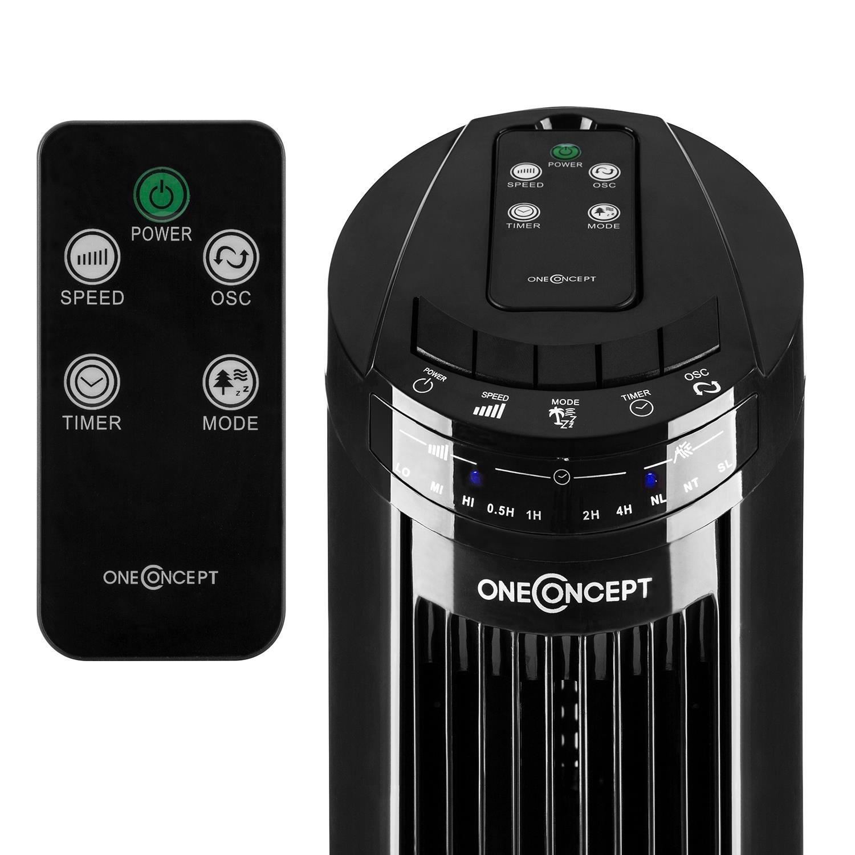 Oneconcept Blitzeis Black Edition /• Ventilador de Torre /• Oscilador 45/° /• 3 Modos de ventilaci/ón Normal Natural /• 3 velocidades /• 50W /• Display t/áctil LED /• Mando a Distancia /• Negro Nocturno