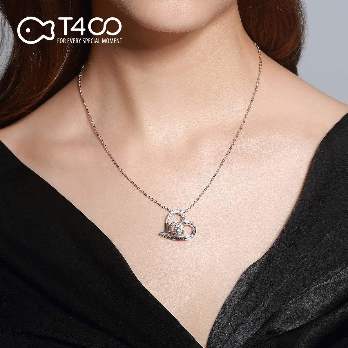 T400 Collar para Mujer Plata de Ley 925I Love You to The Moon and Back Te Quiero hasta la Luna y m/ás all/á Colgante Regalos de Joyer/ía para Mujeres,Longitud del Collar 45cm
