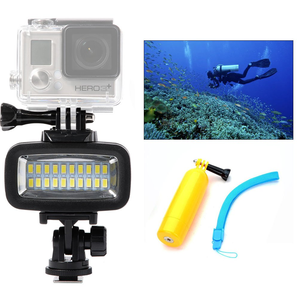 Orsda Underwater Photography Lighting Video Diving Light 700 lumens 40M Waterproof 20 LED Diving lamp video light for GoPro Hero 4 3+ 3 Sports Camera Black +bar OR006F
