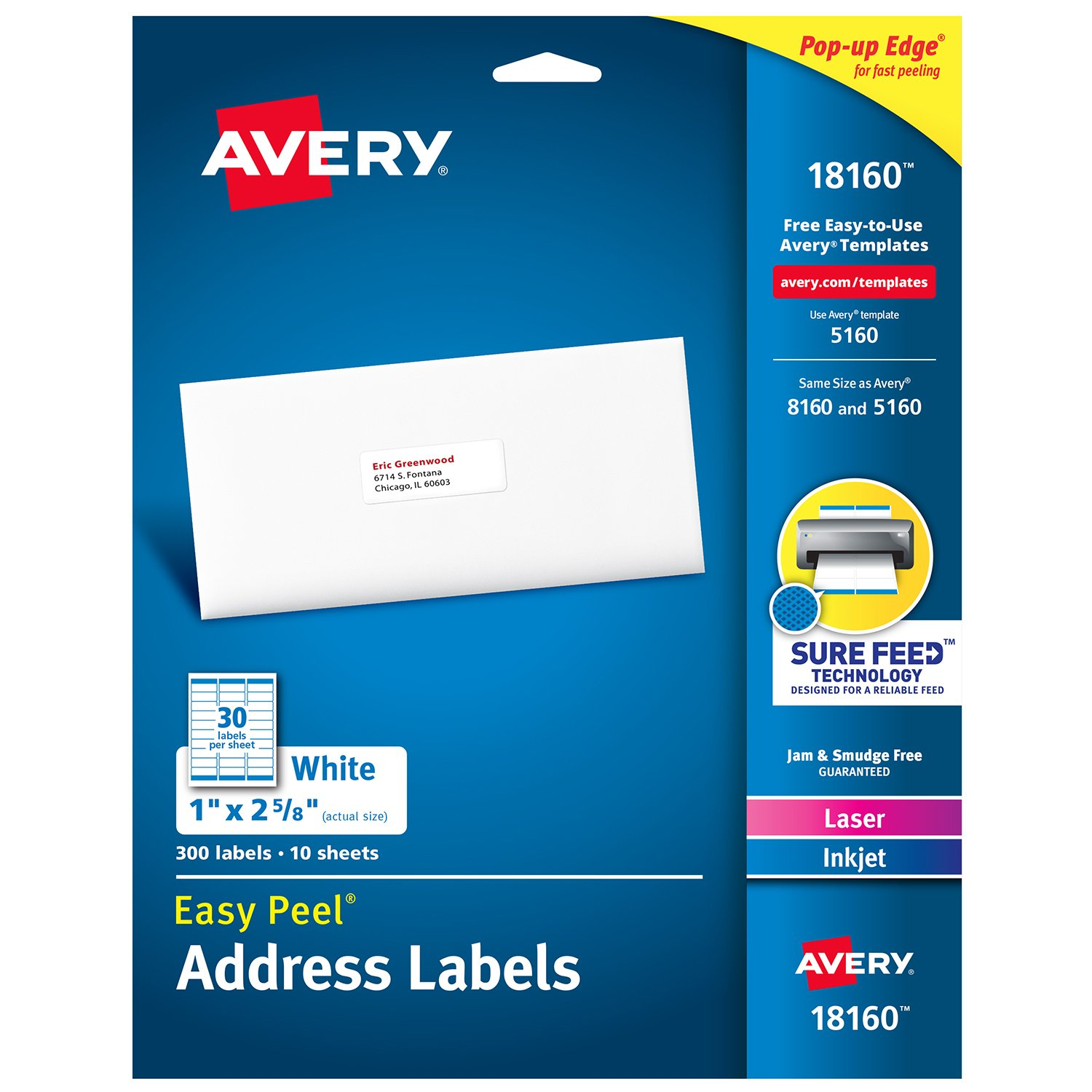 Amazon Avery Address Labels With Sure Feed For Laser Inkjet