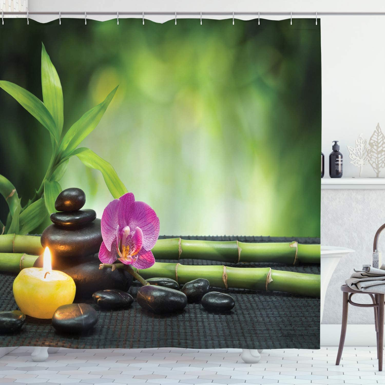 Ambesonne Spa Shower Curtain, Orchid Bamboo Stems Stones Japanese Alternative Feng Shui Elements, Cloth Fabric Bathroom Decor Set with Hooks, 84