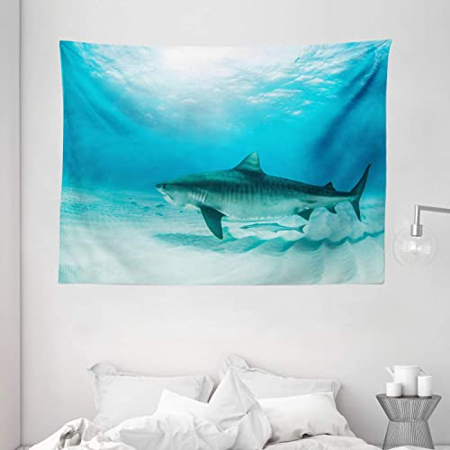 Ambesonne Shark Tapestry, Tiger Shark at The Bottom of The Ocean Danger Wild Life Nature Image Print, Wide Wall Hanging for Bedroom Living Room Dorm, 80 X 60 , Turquoise