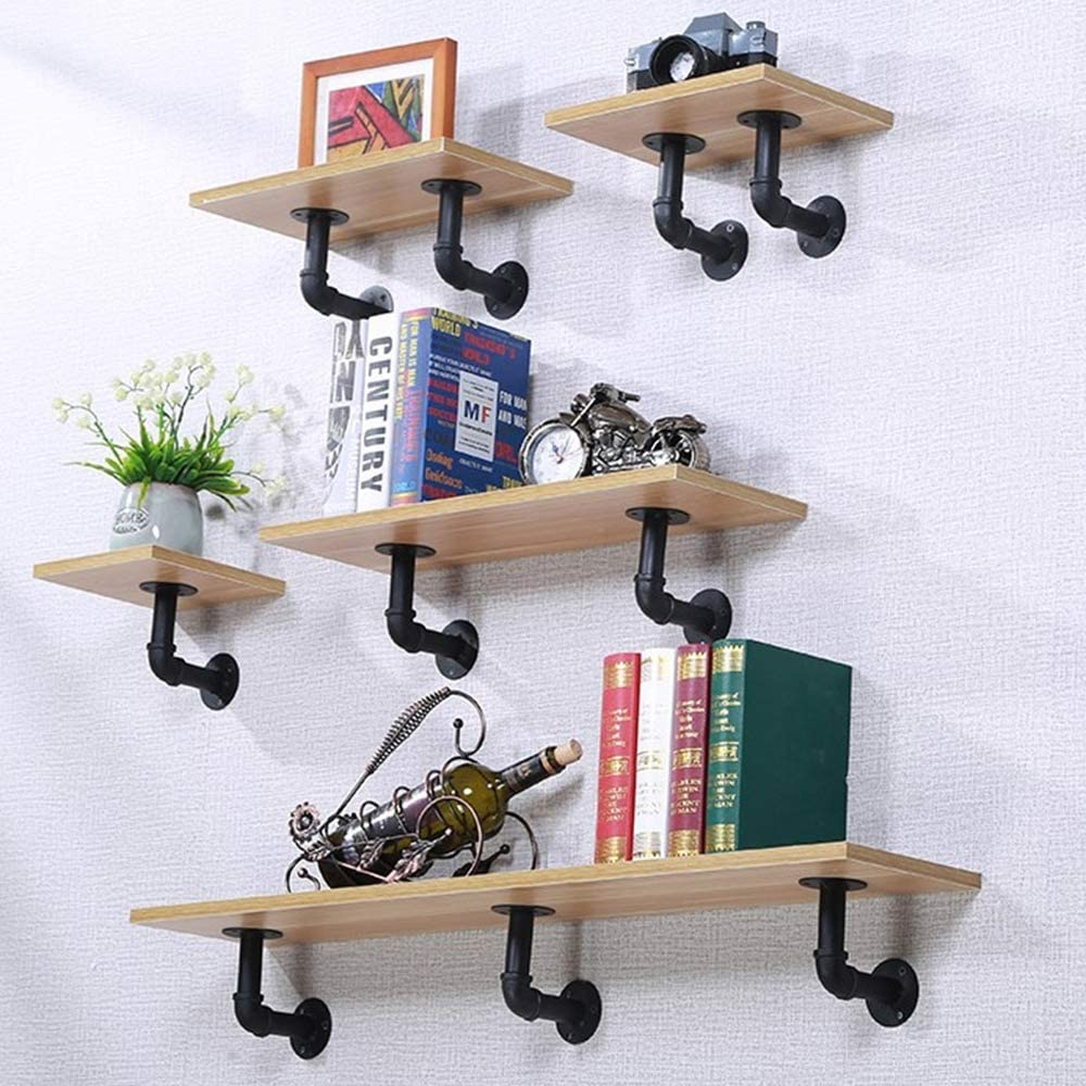 6 Pcs Pipe Shelf Brackets Industrial Iron Pipe Brackets Rustic Wall Mounted DIY Pipe Shelving Brackets Hanging Custom Floating Shelves Brackets with All Accessories Needed (6 Pack): Home Improvement