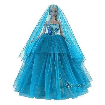 5a2489935e9cd 「Barwa」バービー服 バービー人形用結婚式 飾り バービー用 ウェディングドレス 1