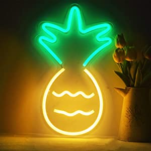 SunKite Pineapple Neon Sign Lights LED Wall Light Art Decor Novel Night Neon Lamps Powered by USB Wire for Bedroom,Home,Bars,Cafes,Party,Christmas,Holiday Decorations