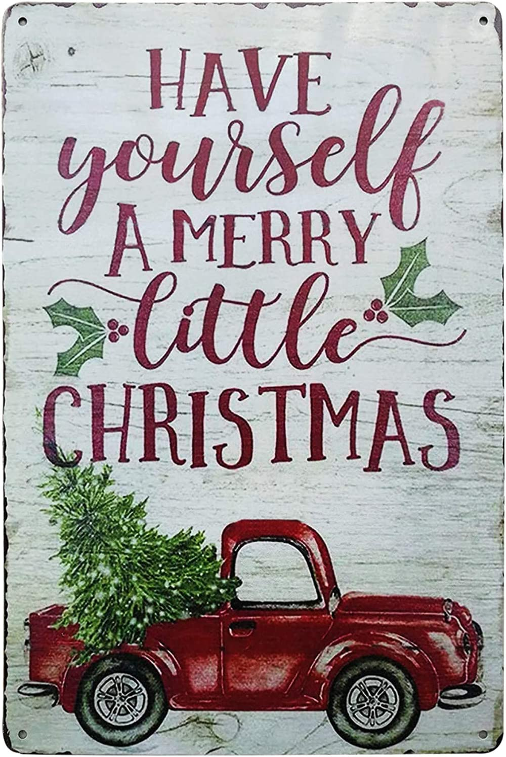Have Yourself Merry Little Christmas Plaque Door Wall Metal Sign Hanging Decorations Gift 12x8 inch (Sing-03)