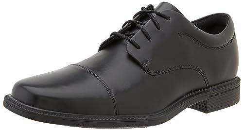 Rockport PLN Toe - Zapatos con Cordones de Cuero Hombre, Negro (Schwarz), 42.5
