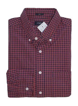 0dcda5d4 J Crew Factory Men's Slim Fit - Gingham Plaid Washed Cotton Shirt at Amazon  Men's Clothing store: