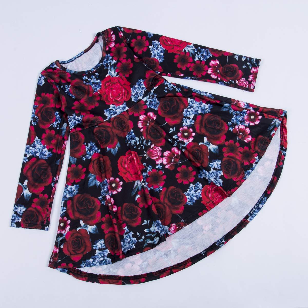 Canrulo Toddler Girl Long Sleeve Dress Crew Neck Floral Print High Low Hem Princess Party Dress
