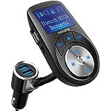 VICTSING Transmisor FM Bluetooth Manos Libres,3 Puerto USB Cargador del Coche del Adaptador sin Instalacion 1.44 Pulgadas Adaptador de Radio Reproductor de Música MP3 Coche Kit con Interruptor de Pantalla Soporte Entrada / Salida AUX,Tarjeta TF para Móviles,Tablet.