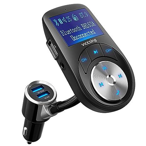 VicTsing Transmisor FM Bluetooth Manos Libres,3 Puerto USB Cargador del Coche 1.44 Pulgadas Adaptador