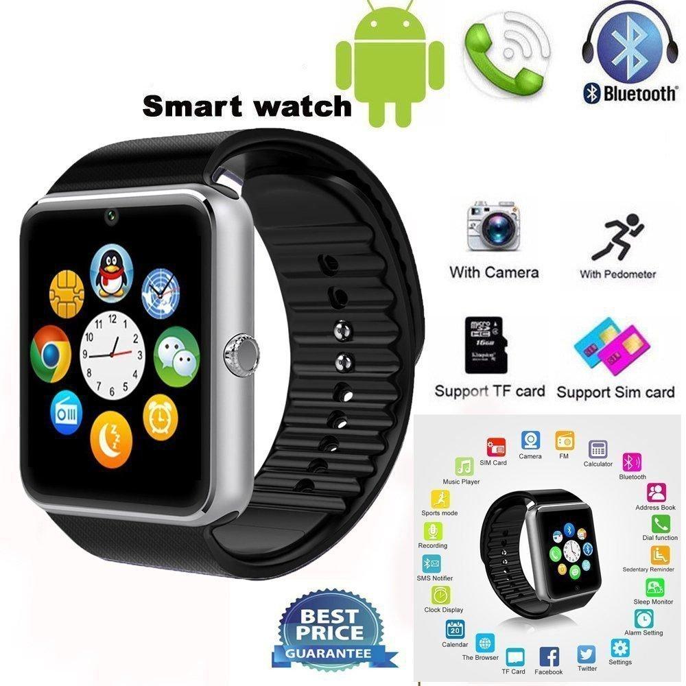 GT08 Bluetooth Reloj inteligente con ranura para tarjeta SIM y NFC Smart salud reloj para Android (Full funciones) y iOS (funciones parcial) pulsera ...